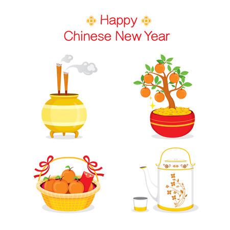 chinese tea pot: Chinese New Year Objects, Gifts, Traditional Celebration, China, Happy Chinese New Year Illustration