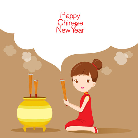 pray: Girl Praying, Traditional Celebration, China, Happy Chinese New Year