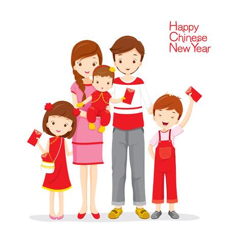 Famille heureuse avec des enveloppes rouges, célébration traditionnelle, Chine, bonne année chinoise