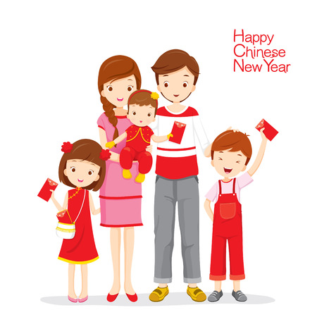 chinese family: Family Happy With Red Envelopes, Traditional Celebration, China, Happy Chinese New Year Illustration