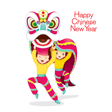 chinese new year element: Boys With Lion Dancing, Traditional Celebration, China, Happy Chinese New Year