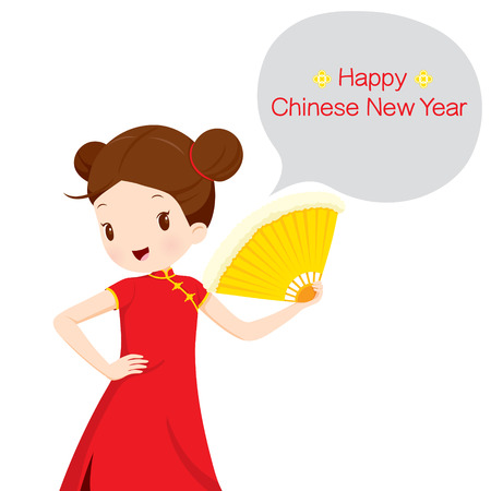 woman speaking: Girl In Cheongsam With Fan, Traditional Celebration, China, Happy Chinese New Year Illustration