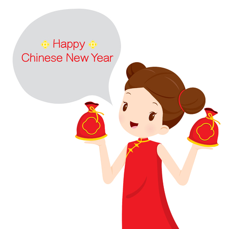 woman holding money: Girl In Cheongsam With Money Bags, Traditional Celebration, China, Happy Chinese New Year