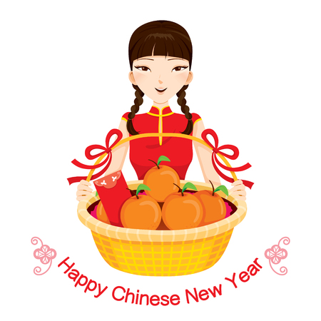 pigtail: Woman With Chinese New Year Gifts, Traditional Celebration, China, Happy Chinese New Year
