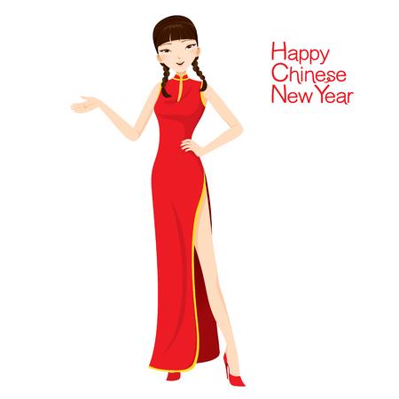 チャイナ ドレス、伝統的なお祝い、中国、幸せな中国の旧正月と美しい女性