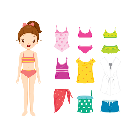 swimming costumes: Girl In Bikini And Clothes Set For Summer