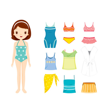 swimming suit: Girl In Swimming Suit And Clothes Set For Summer