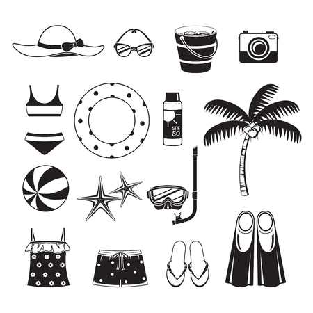 pail tank: Summer Objects Icons Set Illustration