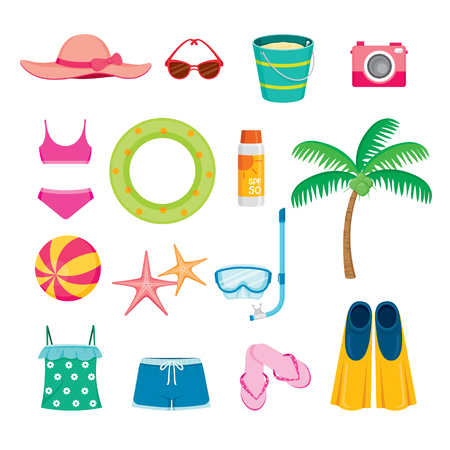 objects: Summer Objects Icons Set Illustration