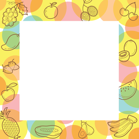 fruits juice: Fruits Outline Icons On Border, Tropical Fruits, Healthy Eating, Food, Juice Illustration