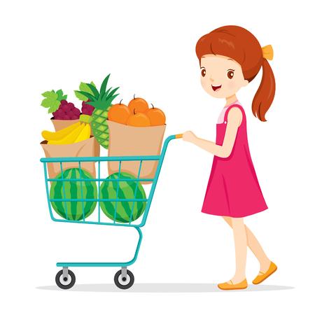 niño empujando: Chica empujando el carrito de la compra con un gran cantidad de frutas, frutas tropicales, Comida sana, comida, jugo Vectores