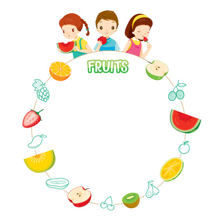 Children And Fruits Objects Icons On Circle Frame, Tropical Fruits, Healthy Eating, Food, Juice