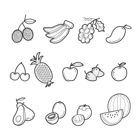 cleave: Fruits Outline Icons Set, Tropical Fruits, Healthy Eating, Food, Juice