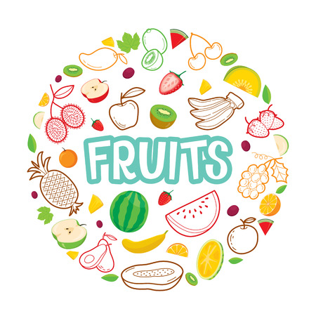 circle objects: Fruits Objects, Icons, Letters On Circle Frame, Tropical Fruits, Healthy Eating, Food, Juice