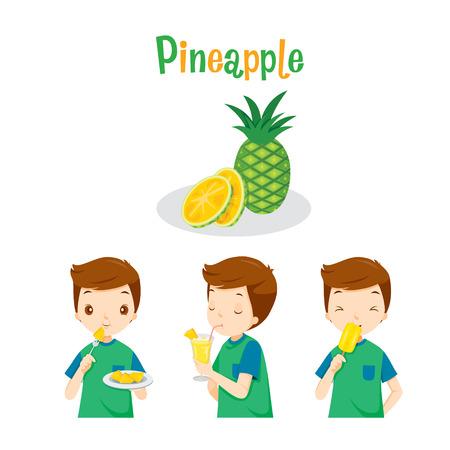 Boy con fruta de la piña, jugo, helado y Letras, frutas tropicales, Verano, Comida sana, comida, jugo Ilustración de vector
