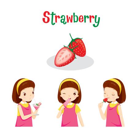 Muchacha con la fresa de la fruta, jugo, helado y Letras, frutas tropicales, Verano, Comida sana, comida, jugo