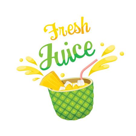 Vers ananassap, Zomer, Tropische vruchten, gezond eten, eten, drinken, Natural
