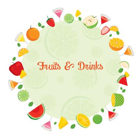 frutas tropicales: Las frutas y bebidas en marco del círculo, verano, frutas tropicales, Comida sana, comida, bebida, natural Vectores