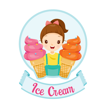 Girl With Ice Cream Logo And Label Illustration
