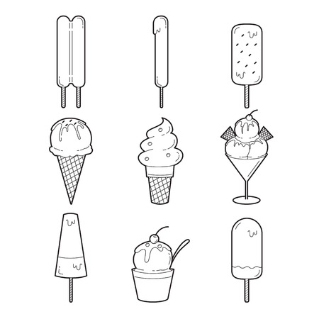 icy: Ice Cream Outline Objects Icons Set, Summer, Frozen Food, Eating, Icy