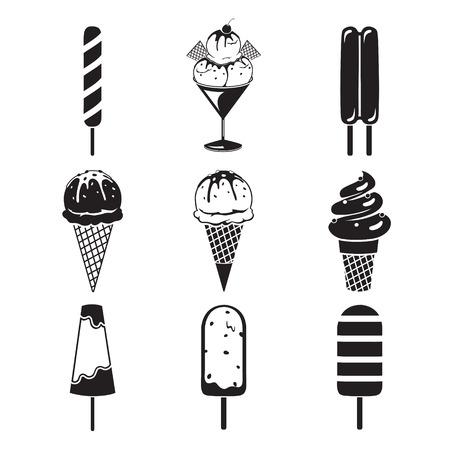 alimentos congelados: Helados Objetos de conjunto de iconos, blanco y negro, Verano, alimentos congelados, Comer, Icy