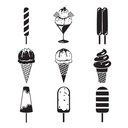 icy: Ice Cream Objects Icons Set, Monochrome, Summer, Frozen Food, Eating, Icy