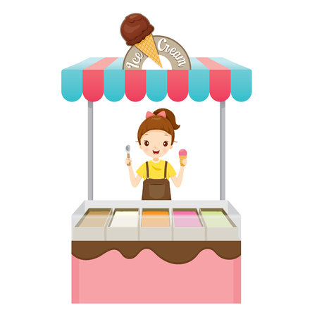 icy: Girl With Ice Cream Shop, Summer, Frozen Food, Eating, Icy Illustration