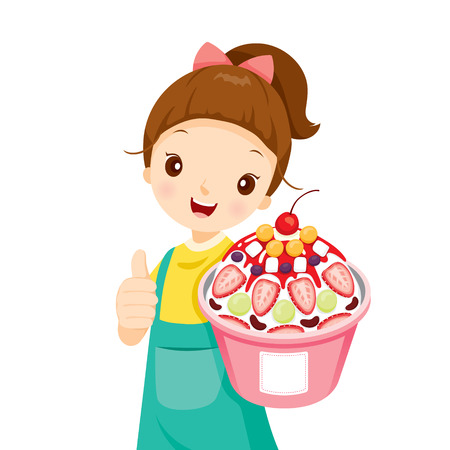 yogurt: Girl Showing Shave Ice With Topping, Summer, Frozen Food, Eating, Icy