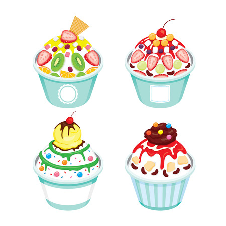 topping: Shave Ice With Different Topping Set, Summer, Frozen Food, Eating, Icy Illustration