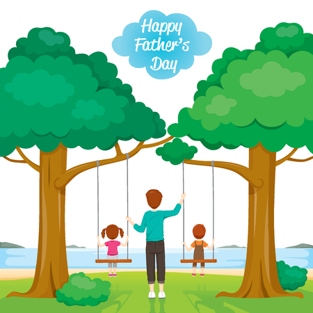 offspring: Father Care Kids Sitting On Swing, Fathers Day, Family, Parent, Offspring, Love, Relationship Illustration