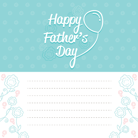 offspring: Father�??s Day Card With Outline Flower Pattern, Family, Parent, Card, Celebrations, Offspring, Love, Relationship Illustration