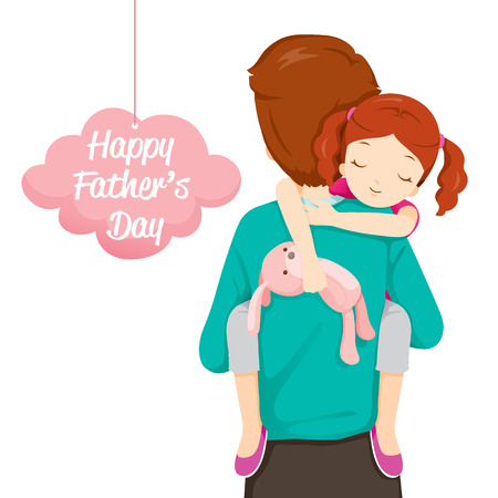 Father Carrying Sleeping Daughter, Father's Day, Family, Parent, Offspring, Love, Relationship 일러스트