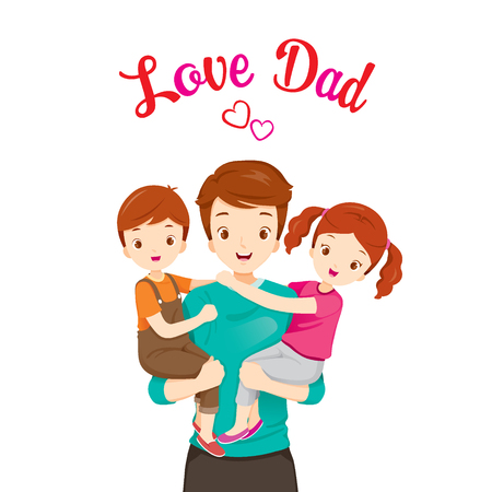 Father Carrying Son And Daughter, Fathers Day, Family, Parent, Offspring, Love, Relationship Иллюстрация