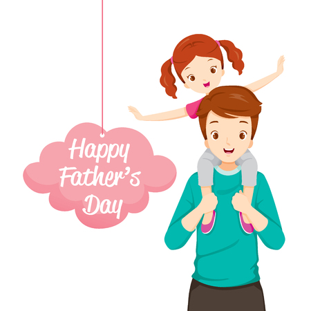 Father Carrying Daughter On His Shoulders, Fathers Day, Family, Parent, Offspring, Love, Relationship Illustration