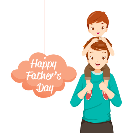 piggyback: Father Carrying Son On His Shoulders, Fathers Day, Family, Parent, Offspring, Love, Relationship Illustration