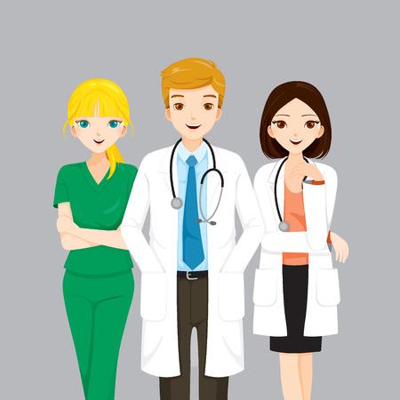 lekarz: Lekarz i pielęgniarka zespołu, lekarz, szpital, sprawdzanie, pacjenta, zdrowy, leczenie, Personnel Ilustracja