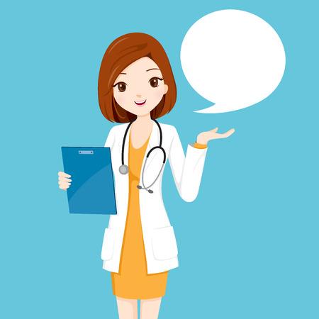 Vrouw Arts Holding Klembord Talking, Arts, ziekenhuis, Controle, patiënt, gezond, behandeling, Personnel Stockfoto - 60339356