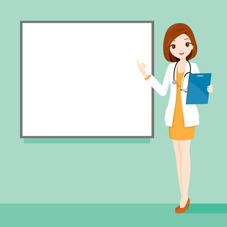 Femme docteur, tenue, presse-papiers Parler avec Blank White Board, médecin, hôpital, Checkup, Patient, santé, traitement, Personnel Vecteurs