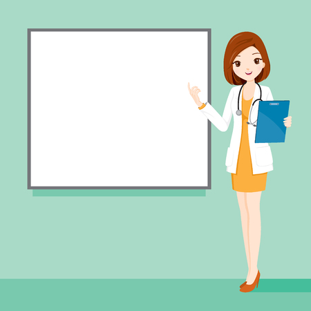 Woman Doctor Holding Clipboard Talking With Blank White Board, Physician, Hospital, Checkup, Patient, Healthy, Treatment, Personnel Stock Illustratie