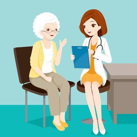 彼女の症状、医師、病院、検査、患者、健康についての高齢者の患者、治療、担当者と話している医師