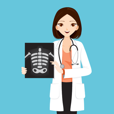 Woman Doctor Showing X-ray Film, Physician, Hospital, Checkup, Patient, Healthy, Treatment, Personnel
