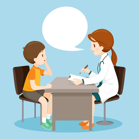 health professionals: Woman Doctor Ask Boy About Symptoms, Medical, Physician, Hospital, Checkup, Patient, Healthy, Treatment, Personnel Illustration