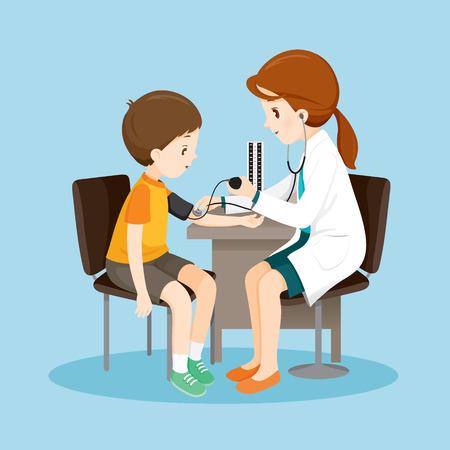 여자 의사와 환자 혈압 측정, 의료, 의사, 병원, 검진, 환자, 건강, 치료, 인사