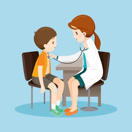 La mujer del doctor examina a paciente por el estetoscopio, médico, médico, hospital, Chequeo, Paciente, saludable, tratamiento, Personal Foto de archivo - 60339366