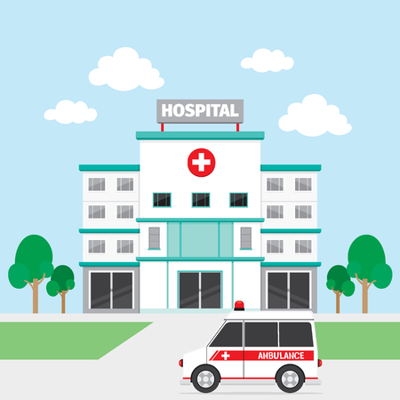 Hospital Building And Ambulance, Architecture, Exterior, Medical, Vehicle, Healthy, Emergency 矢量图像