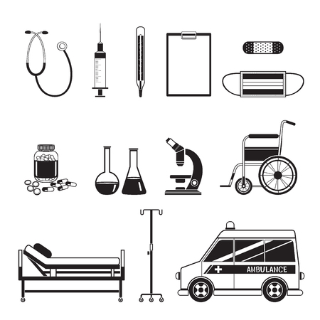 equipment: Medical Equipment Icons Set, Monochrome, Medical, Appliance, Tool, Hospital