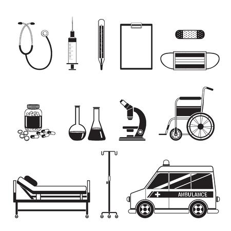 medical equipment: Medical Equipment Icons Set, Monochrome, Medical, Appliance, Tool, Hospital