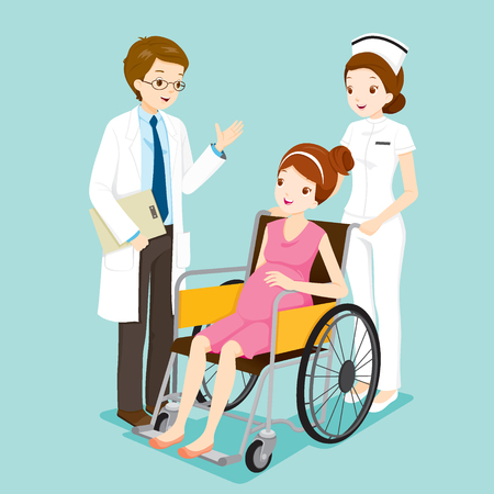 a physician: Doctor Talking With Pregnant On Wheelchair And Nurse, Physician, Hospital, Checkup, Patient, Healthy, Treatment, Personnel
