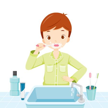 nightwear: Boy In Pyjamas Brushing His Teeth In Bathroom, Medical, Dentistry, Hospital, Checkup, Patient, Hygiene, Healthy, Treatment Illustration