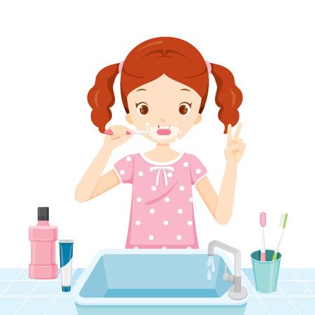 pyjamas: Girl In Pyjamas Brushing Her Teeth In Bathroom, Medical, Dentistry, Hospital, Checkup, Patient, Hygiene, Healthy, Treatment